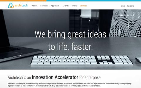 Screenshot of Home Page architech.ca - Architech. Agile software development for web, mobile, cloud, M2M and IoT applications. Toronto-based innovation accelerator for enterprise. - captured Sept. 30, 2014