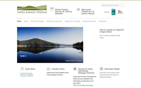Screenshot of Home Page yarrarangestourism.com.au - Yarra Ranges Tourism Yarra Ranges Tourism - Industry Website for the Yarra Valley & Dandenong Ranges Tourism Region - captured Dec. 19, 2015