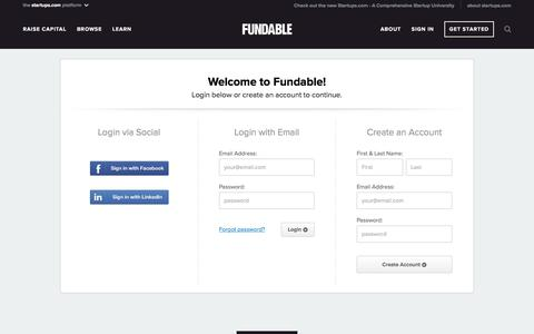 Screenshot of Login Page fundable.com - Fundable | Crowdfunding for Small Businesses - captured Nov. 3, 2019