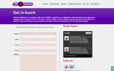 Screenshot of Contact Page yesgno.me - Contact us for Support or to know more about YesGnome Games - captured Oct. 27, 2014