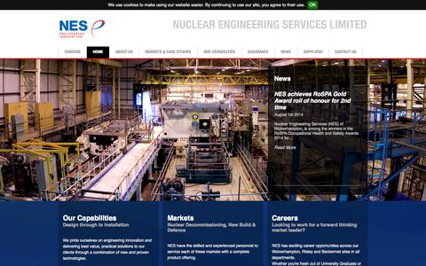 Screenshot of Home Page nes-limited.com - Nuclear Engineering Services (NES) :: NES :: - captured Sept. 30, 2014