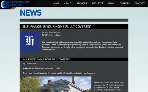Screenshot of Press Page costconsultants.co.nz - News | Construction Cost Consultants | NZ - captured Oct. 2, 2014