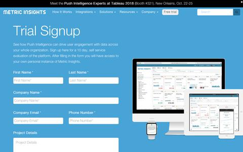 Screenshot of Trial Page metricinsights.com - Trial Signup - Metric Insights - captured Oct. 18, 2018