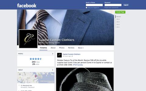 Screenshot of Facebook Page facebook.com - Capital Custom Clothiers - Annapolis, MD - Men's Clothing Store | Facebook - captured Oct. 22, 2014