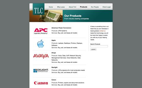 Screenshot of Products Page tlc96.com - Technology Leasing Concepts: Products - captured Oct. 26, 2014