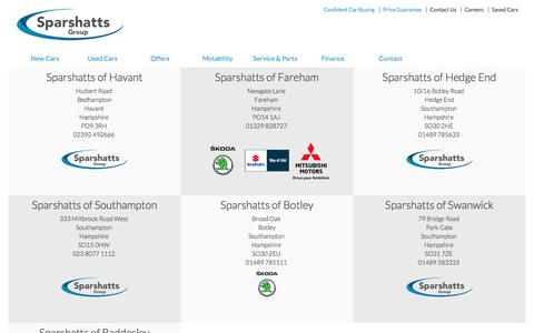 Screenshot of Maps & Directions Page sparshattsgroup.co.uk - Sparshatts Group | NEW CARS | USED CARS | PARTS | SERVICE | MOTABILITY | HAMPSHIRE | SOUTHAMPTON | HEDGE END | PORTSMOUTH | HAVANT | BOTLEY | SKODA | MITSUBISHI | SUZUKI - captured Sept. 21, 2018