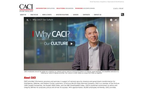 Screenshot of About Page caci.com - About CACI - captured July 18, 2018