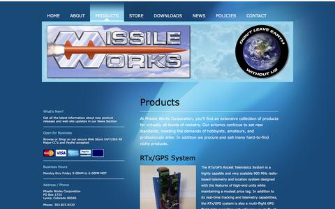 Screenshot of Products Page missileworks.com - Missile Works Corporation - Products - captured April 10, 2017