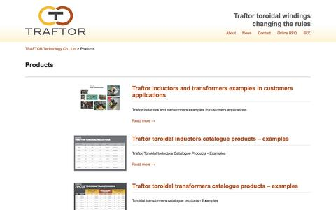 Screenshot of Products Page traftor.com - Traftor Manufacturer of Toroidal Inductors and Toroidal Transformers – Product line - captured Oct. 27, 2014