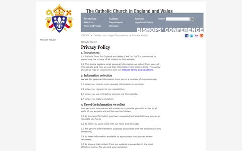 Screenshot of Privacy Page cbcew.org.uk - Privacy Policy / Contact and Legal Documents / CBCEW - The Conference of Catholic Bishops for England and Wales - captured Oct. 2, 2014