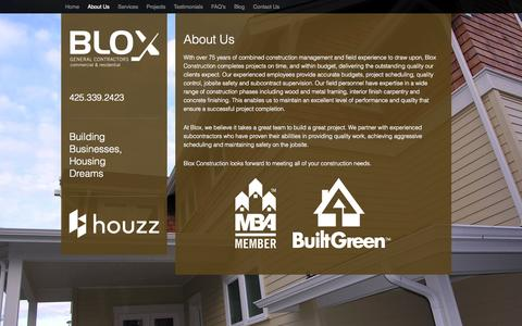 Screenshot of About Page bloxconstruction.com - About Us - Blox Construction - captured Oct. 5, 2014