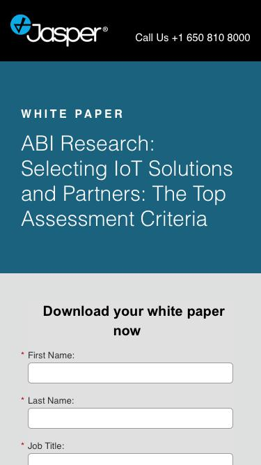 Screenshot of Landing Page  jasper.com - White Paper: Selecting IoT Solutions and Partners: The Top Assessment Criteria