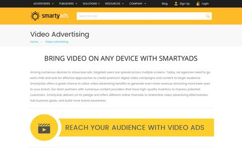 Screenshot of smartyads.com - Online Video Advertising Platform — SmartyAds - captured May 31, 2017