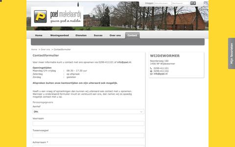 Screenshot of Contact Page poel.nl - Contactformulier - Poel Makelaardij - captured Sept. 28, 2018