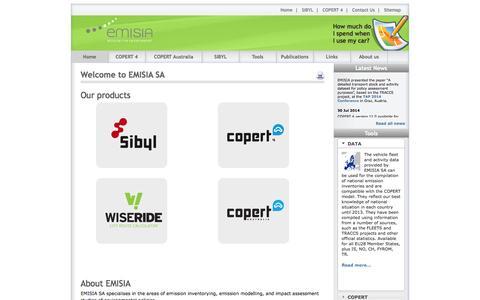 Screenshot of Home Page emisia.com - Environmental and energy studies - captured Oct. 2, 2014