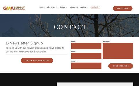 Screenshot of Contact Page gmasupply.com - Contact - GMA SUPPLY - captured July 10, 2016