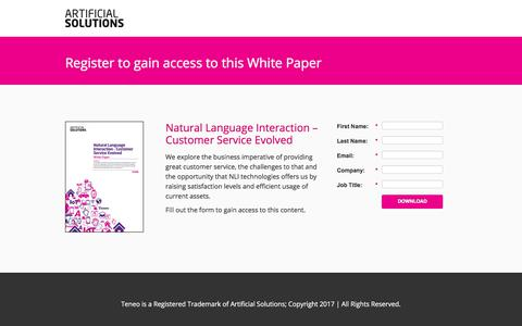 Screenshot of Landing Page artificial-solutions.com - Natural Language Interaction – Customer Service Evolved - captured June 30, 2017