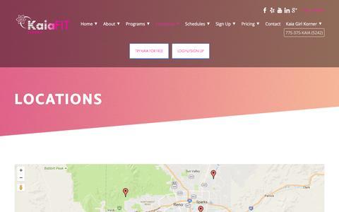 Screenshot of Locations Page kaiafitsierra.com - Locations - Kaia FIT Sierra - captured Aug. 8, 2016