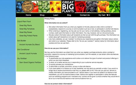 Screenshot of Privacy Page greatbigplants.com - Terms: Privacy - captured Sept. 18, 2017