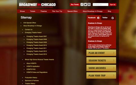 Screenshot of Site Map Page broadwayinchicago.com - Sitemap | Broadway in Chicago - captured Sept. 23, 2014