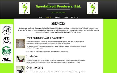 Screenshot of Services Page specializedproductsltd.com - Specialized Products, Ltd. | Services - captured Dec. 21, 2016