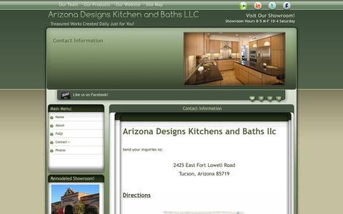 Screenshot of Contact Page Maps & Directions Page arizonadesigns.net - Contact Us - captured Oct. 4, 2014