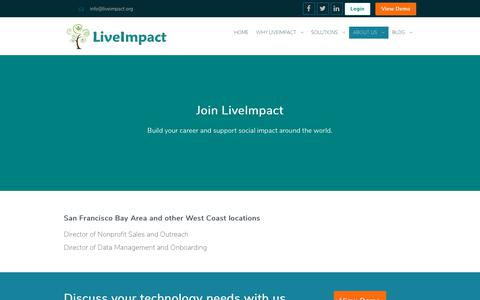 Screenshot of Jobs Page liveimpact.org - LiveImpact Nonprofit Jobs | LiveImpact is an affordable nonprofit database and technology that integrates with quickbooks, gmail, google docs, logic models for programs and donor data mangement, donation, client, volunteer, crm, management. Event,    - captured July 10, 2018