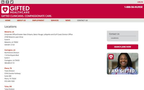 Screenshot of Locations Page giftedhealthcare.com - Locations - Offices | Gifted Healthcare | Gifted Healthcare - captured Sept. 30, 2014