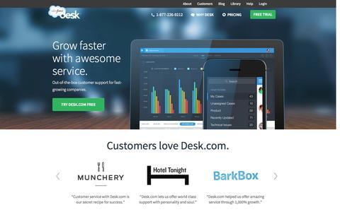 Screenshot of Home Page desk.com - Desk.com · Customer Service Software and Support Ticket Software by Desk.com, a Salesforce Company. - captured Sept. 15, 2014