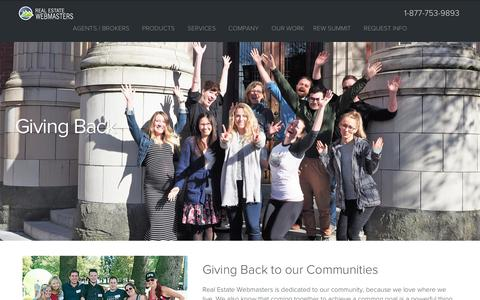 Giving Back - Real Estate Webmasters' Charity, Donations & Philanthropy