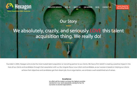 Screenshot of About Page hexagonsearch.com - About Hexagon: Why we love people, What do we do and how we got here - captured Aug. 9, 2017