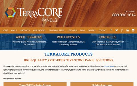 Screenshot of Products Page terracorepanels.com - TerraCORE Products | State-of-the-Art Panels & Finishes - captured Sept. 20, 2018