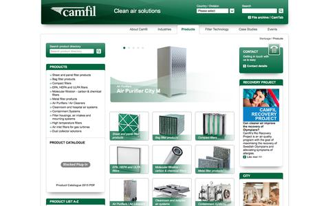 Screenshot of Products Page camfil.com - Products - Camfil - captured Oct. 20, 2016