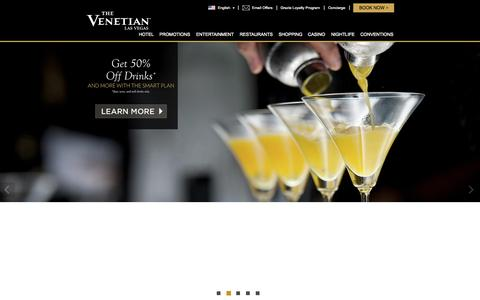 Screenshot of Home Page venetian.com - Luxury Hotels in Las Vegas | The Venetian® Las Vegas - captured Nov. 23, 2015