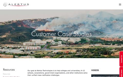 Screenshot of Case Studies Page alertus.com - Customer Case Studies — Alertus Technologies - captured Nov. 20, 2016