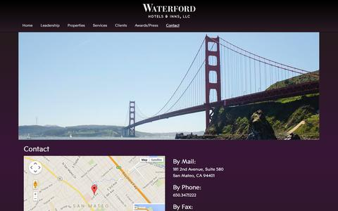 Screenshot of Contact Page waterfordhi.com - Contact Information | Waterford Hotels and Inns - captured Oct. 7, 2014