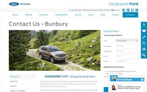 Screenshot of Hours Page geographeford.com.au - Contact Us   Bunbury, WA - Geographe Ford - captured Nov. 1, 2018