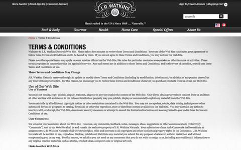 Screenshot of Terms Page jrwatkins.com - Terms & Conditions   J.R. Watkins - captured Sept. 19, 2014