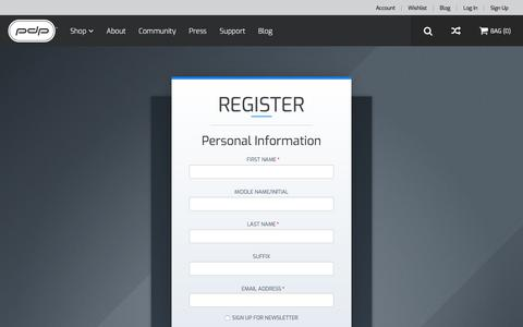 Screenshot of Signup Page pdp.com - Create New Customer Account - captured Sept. 24, 2018