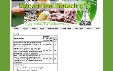 Screenshot of Pricing Page mycorrhizabiotech.com - Pricing | Mycorrhiza Biotech - captured Oct. 26, 2014