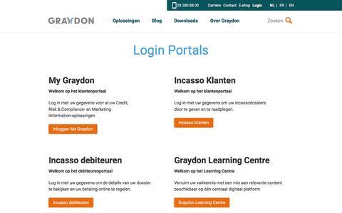 Screenshot of Login Page graydon.be - Login Portals   Graydon BE - captured Nov. 14, 2016