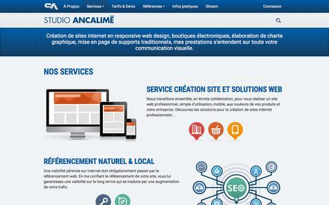 Screenshot of Services Page studio-ancalime.com - Création site internet vitrine - captured Sept. 23, 2018