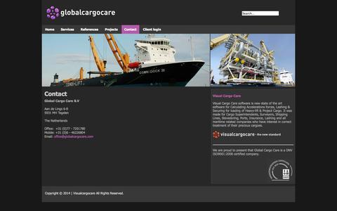 Screenshot of Contact Page globalcargocare.com - Contact - captured Oct. 2, 2014
