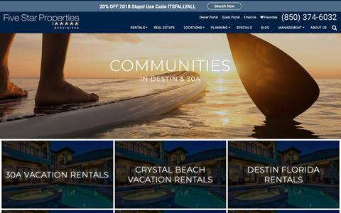 Screenshot of Locations Page fivestargulfrentals.com - Destin-Miramar Beach-30A Vacation Rentals | Five Star Vacation Rentals - captured Oct. 10, 2018