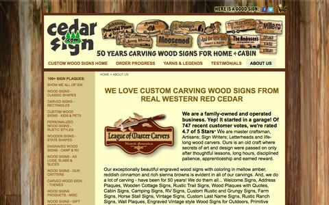 Screenshot of About Page cedarsign.com - 50 Years of Custom Personalized Carved Wood Signs for Home & Cabin - captured Oct. 2, 2014