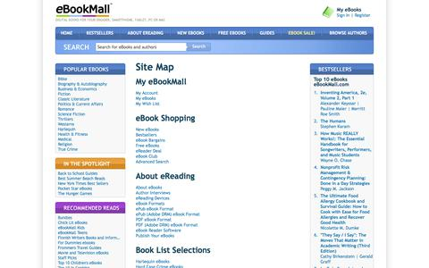 Screenshot of Site Map Page ebookmall.com - Site Map - eBookMall - captured June 25, 2017