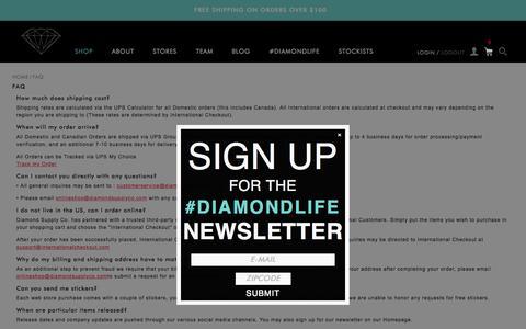 Screenshot of FAQ Page diamondsupplyco.com - FAQ - captured Oct. 1, 2015