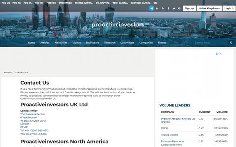 Screenshot of Contact Page proactiveinvestors.co.uk - Proactive Investors Limited - Leading source of Financial News, Investor Forums, CEO Interviews, Financial Columnists, Stock Information - Contact Us - captured Nov. 7, 2018