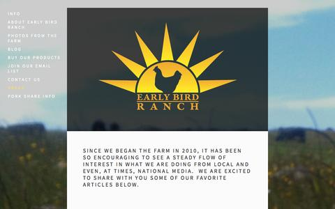 Screenshot of Press Page earlybirdranch.com - Press — Early Bird Ranch - captured Sept. 26, 2014