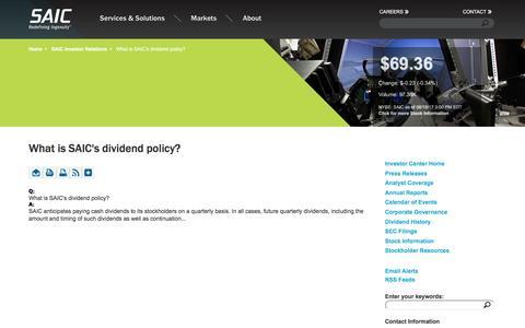 Screenshot of FAQ Page saic.com - What is SAIC's dividend policy?  | SAIC - captured Aug. 18, 2017